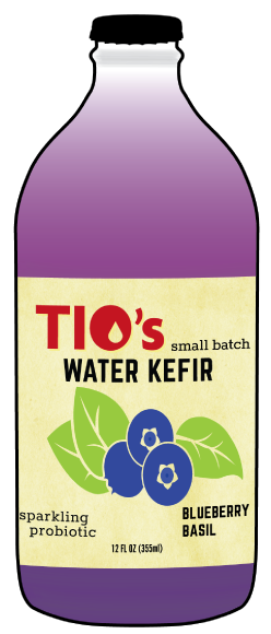 Tio's Blueberry Basil Water Kefir - a sparkling probiotic made with live kefir culture, organic Oregon Blueberry, Spicy Thai Basil and organic fruit juices; Portland OREGON; 97206
