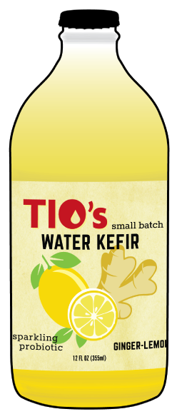 Tio's Ginger Lemon Water Kefir - a sparkling probiotic made with live kefir culture, cold pressed organic ginger, organic fruit juices and botanicals; Portland OREGON; 97206