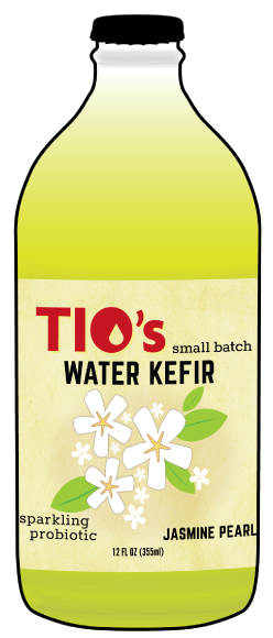 Tio's Jasmine Pearls Water Kefir - a sparkling probiotic made with live kefir culture, cold-brewed Jasmine Green Tea, organic fruit juices and botanicals; Portland OREGON; 97206