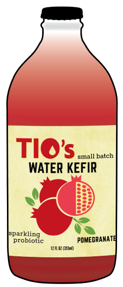 Tio's Pomegranate Water Kefir - a sparkling probiotic made with live kefir culture, organic fruit juices and botanicals; Portland OREGON; 97206