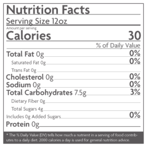 Nutrition Facts: Tio's Water Kefir Blueberry flavor has only 30 calories and less than 4g of sugar